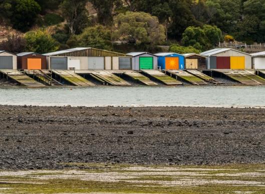 Boat sheds bring colour to the landscape