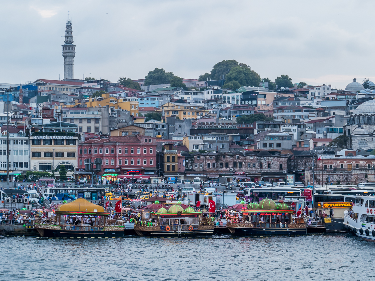 The waterfront at Eminönü from Galata Bridge