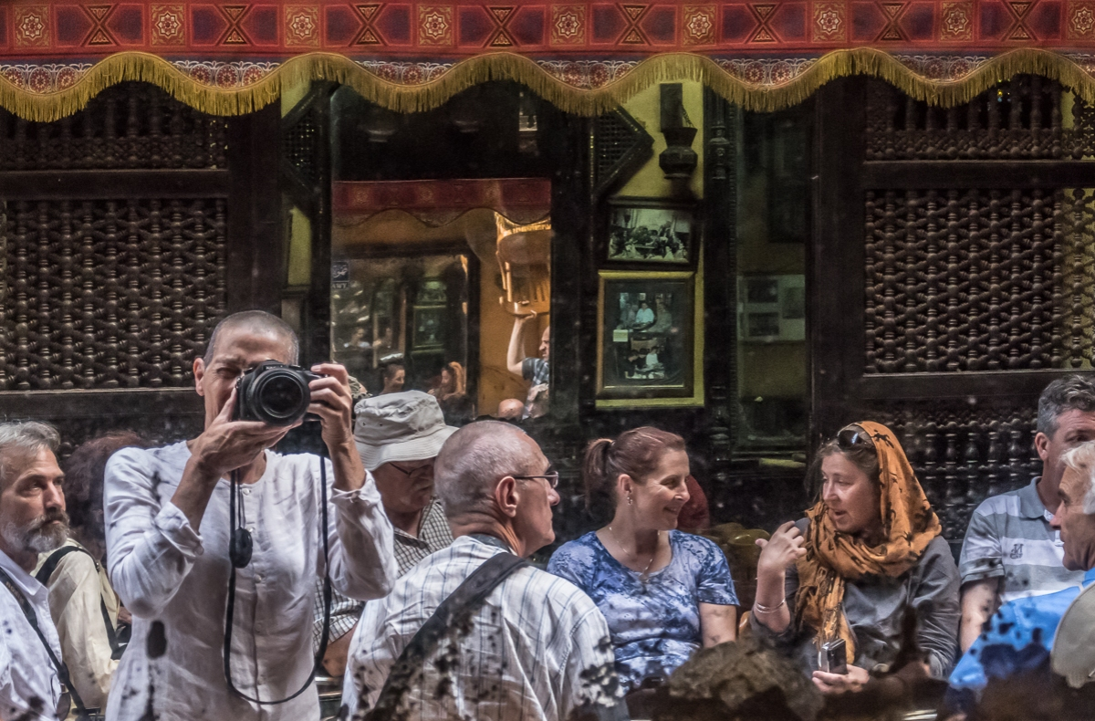 Some of our group in a Cairo cafe.