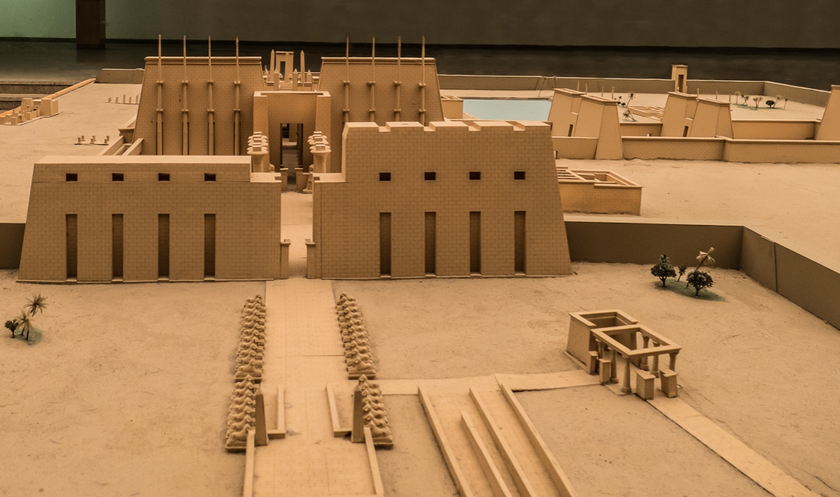 A model of the temple complex in the entrance foyer.